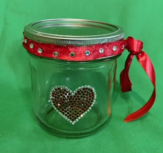 Wide Mouth Decorative Glass Mason Jar, Perfect Gift, Pot Pourri, Candles, Canning, Jam, Preserves, Honey, Candy, Food, with Logo or Rhinestone Logo