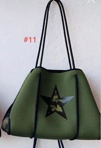 Neoprene and Dacron Military Green Tote Bag with Star, Beach, Pool, Pool, Fall and Spring Tote Active