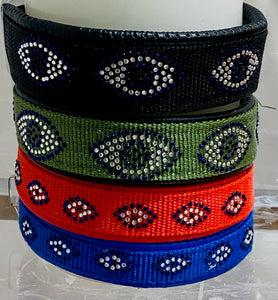 Evil Eye Custom Dog Collar, Fancy, Rhinestone Collar, Small, Medium, Large, X-Large, Sparkle Collar, Bling Collar, Durable Nylon Collar
