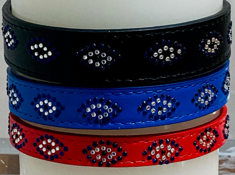 Evil Eye Custom Dog Collar, Fancy, Rhinestone Collar, Small, Medium and Large, Sparkle Collar, Bling Collar, Luxury PU Leather Collar