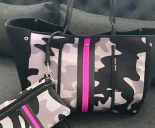 Neoprene and Dacron Grey, White and Black Camouflage with Pink Racer Stripe Tote Bag, Beach, Pool, Fall and Spring Tote