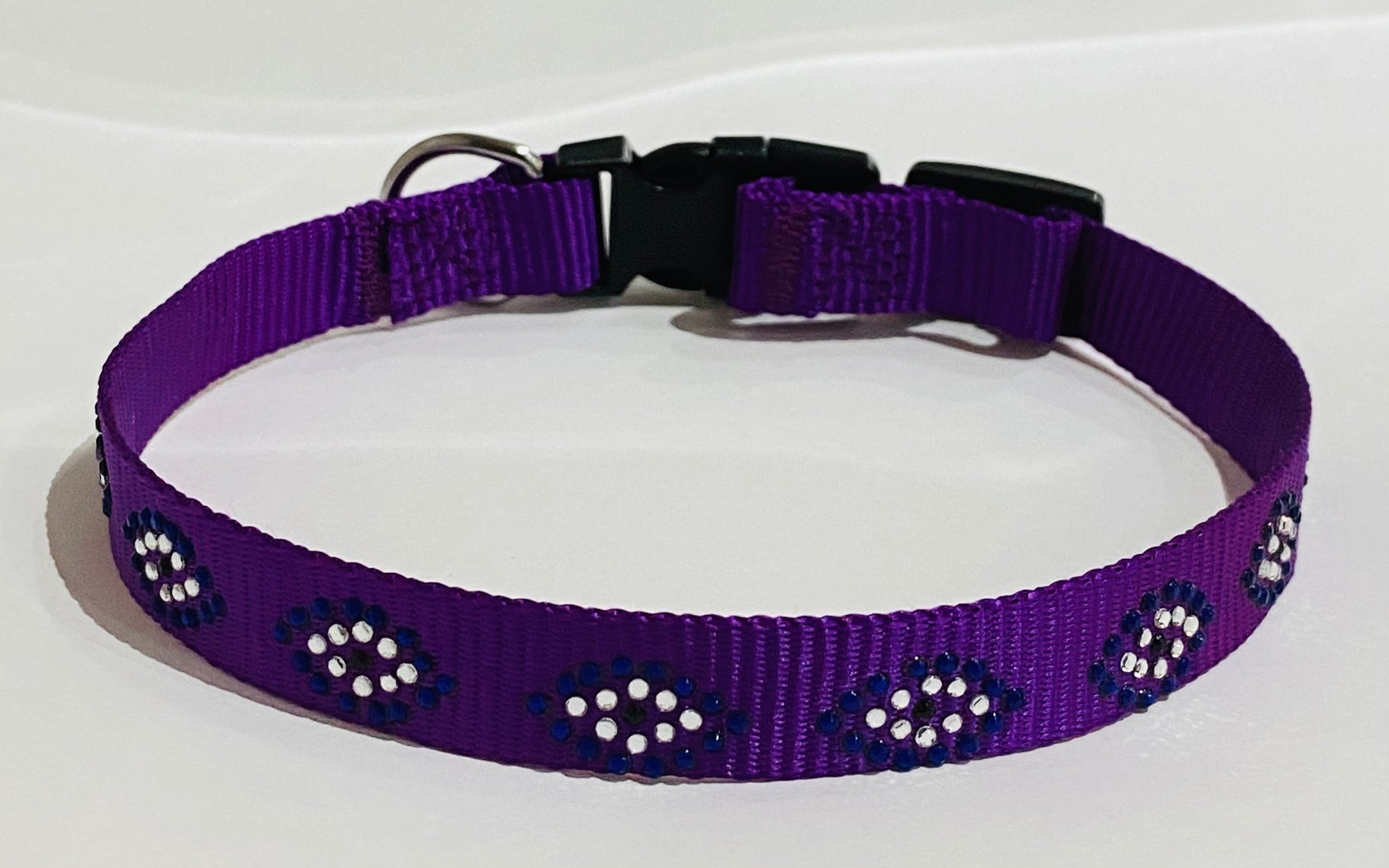 Evil Eye Custom Dog Collar, Fancy, Rhinestone Collar, Small, Medium, Large, Sparkle, Bling Collar, Durable Nylon Collar with Duraflex Buckle