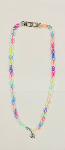 Custom Rainbow Mask Chain & Necklace With Peace Sign Charm