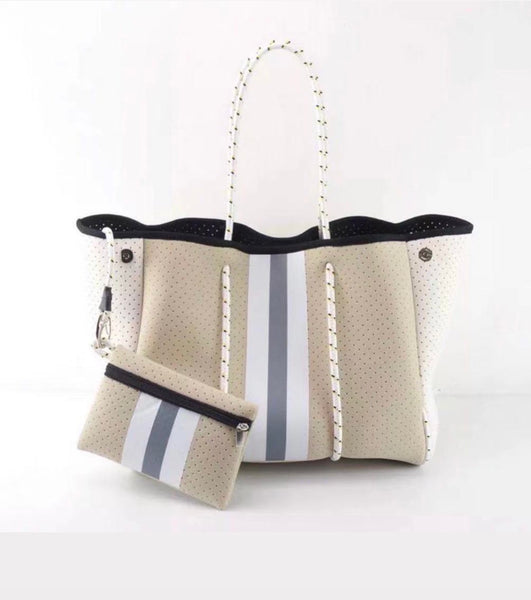 Neoprene and Dacron White and Tan with Grey, Gray Racer Stripe Tote Bag, Beach, Pool, Fall and Spring Tote