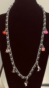 Luxury Leather and Silver Mask Chain and Necklace With Fashion Charms