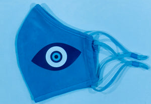 Evil Eye- Child, Adult Face Covering. Reusable, Adjustable, Breathable Mask With Protective Image