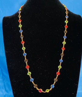 Custom Handmade High Quality Two Sided Large Multicolor Round Crystal Chatons on Gold plated Necklace & Mask Chain
