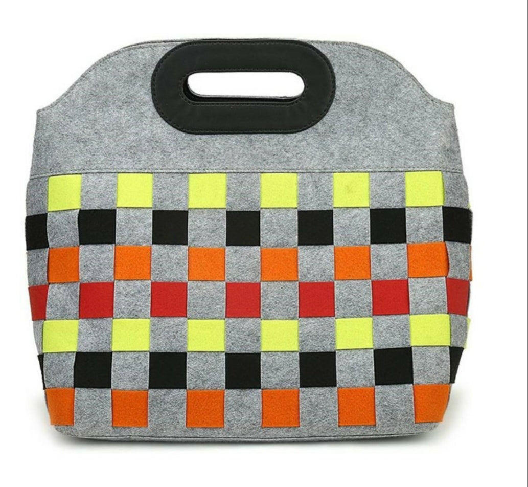 Grey Lighweight Wool, Felt, Tote Bag, Pocketbook, Multicolor Square Pattern on Grey with Black Stiched Leather Handles