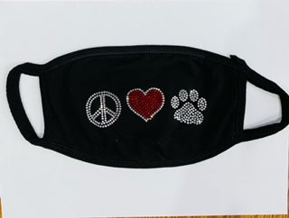 Rhinestone Peace, Heart, Paw, Adult Face Covering. Reusable, Non-Adjustable, Breathable Active