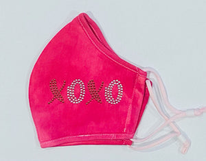 Bedazzled, Bling, Nailheads XOXO- Adult, Child Face Covering. Reusable, Adjustable, Breathable Mask With Image