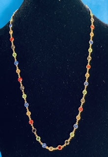 Custom Handmade High Quality Two Sided Multicolor Round Crystal Chatons on Gold plated Necklace & Mask Chain