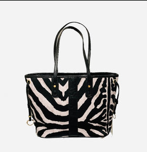 Zebra Pattern Zippered Pleather Tote Bag, Pocketbook, Travel Bag with Inside Zippered Pocket