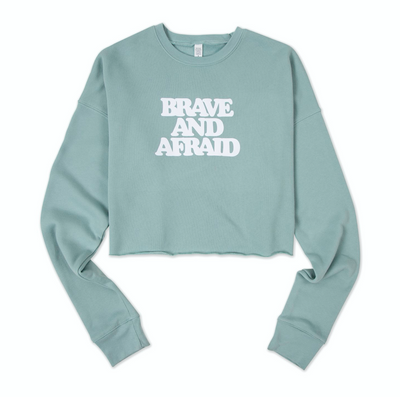 Brave and Afraid Fleece Cropped Crewneck