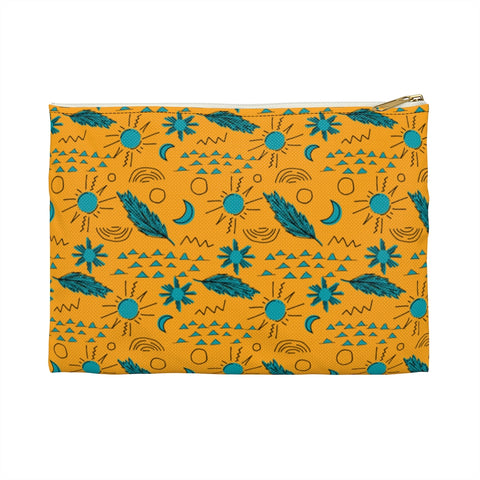Yellow and Teal Feathers Accessory Pouch
