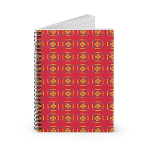Red Flower Tile Spiral Notebook - Ruled Line