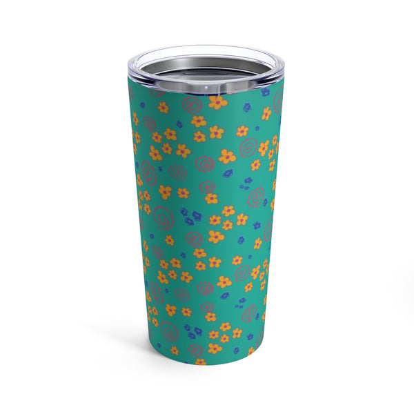 Kelly Teal Floral Tumbler 20oz