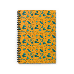 Yellow and Teal Feathers Spiral Notebook - Ruled Line