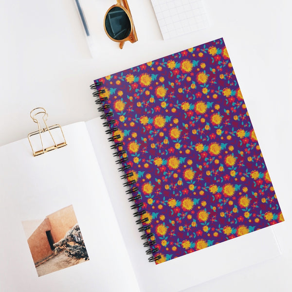 Purple Floral Spiral Notebook - Ruled Line