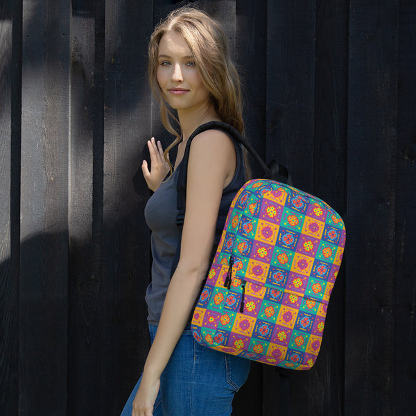 Bright Color Pop Flower Tile Backpack