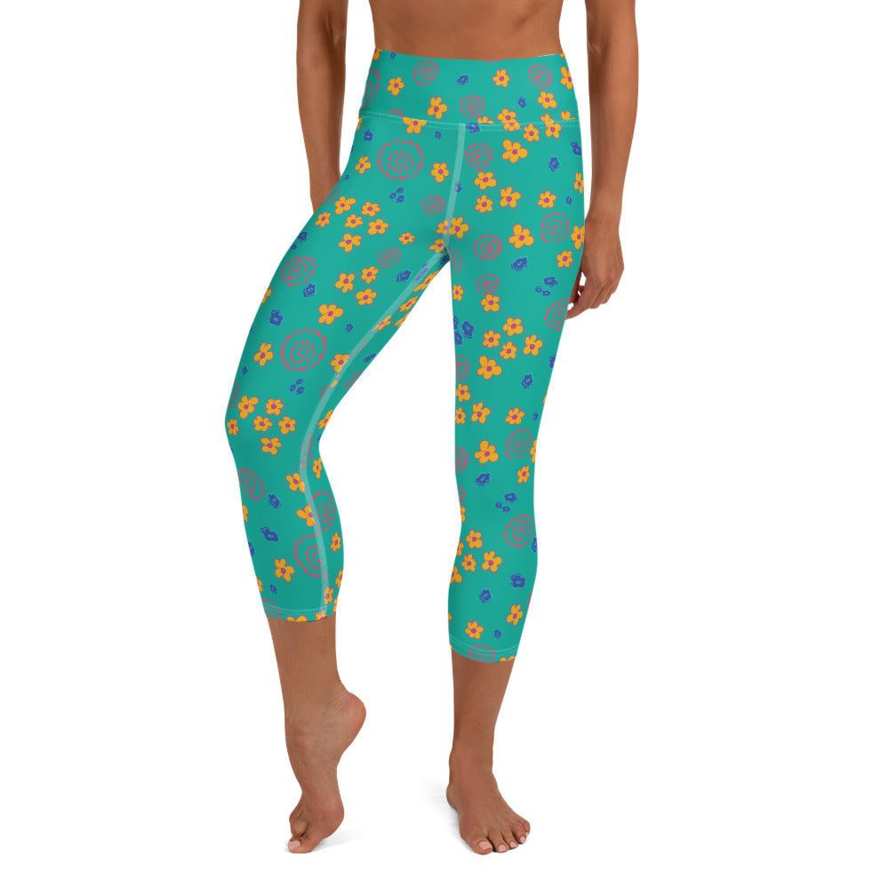 Kelly Teal Yoga Capri Leggings