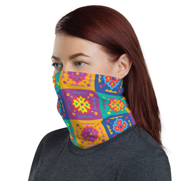 Bright Color Pop Flower Tile Neck Gaiter