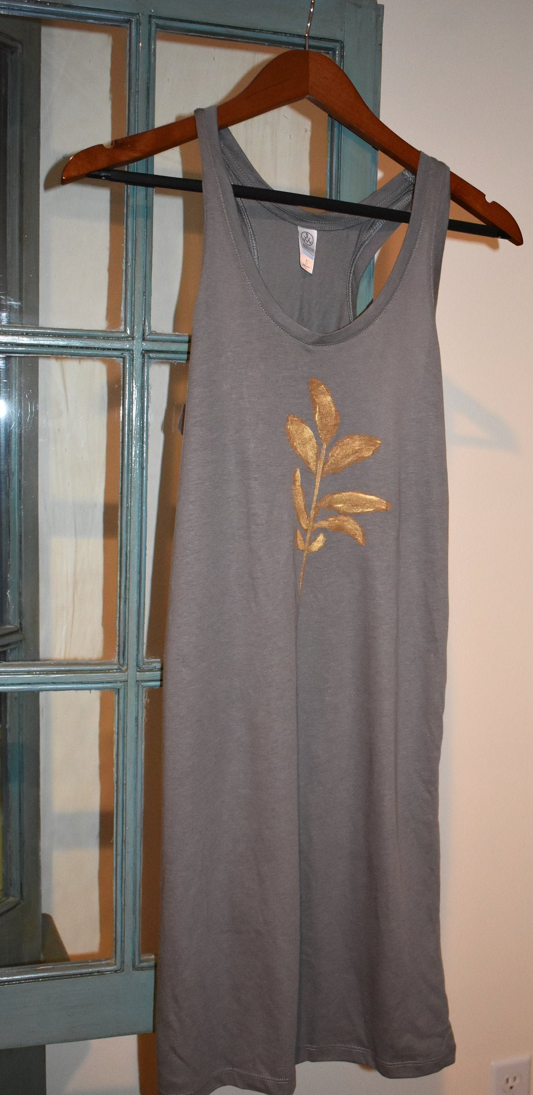 Gold Botanical Leaves TANK DRESS Hand Painted Racer Back S Nickel