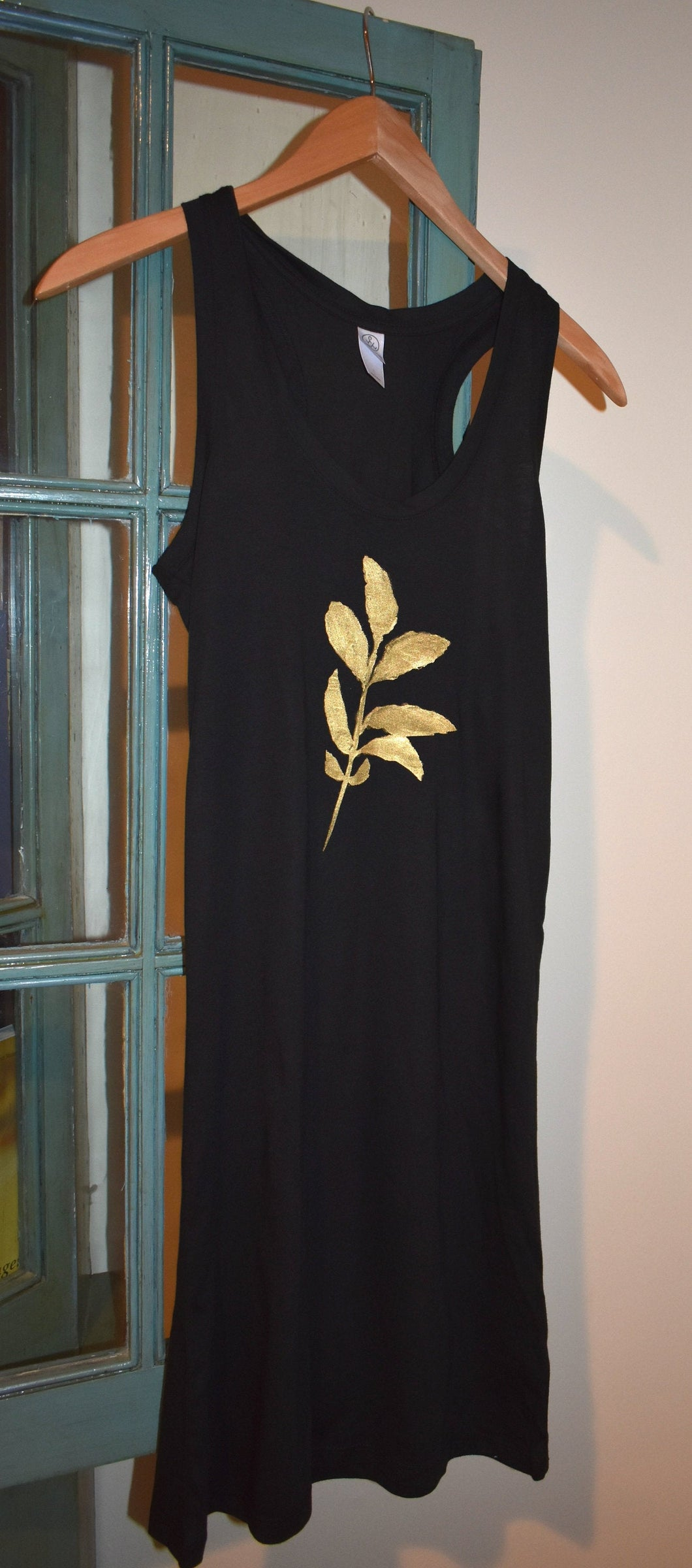Gold Botanical Leaves Tank Top Dress Black Racer Back S Hand Painted