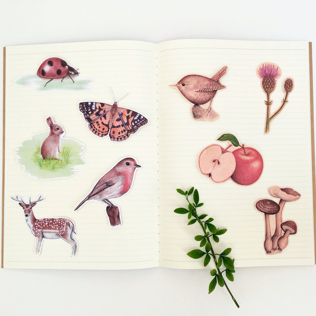 Large Woodland Journal Stickers - Kerry Dawn Illustration