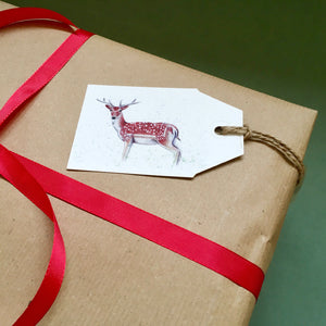 Christmas Gift Tags with Deer and Robins - Kerry Dawn Illustration