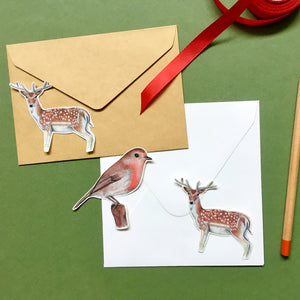 Winter Themed Deer and Robin Large Stickers - Kerry Dawn Illustration