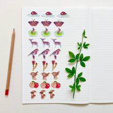 Load image into Gallery viewer, Small Woodland Journal and Planner Stickers - Kerry Dawn Illustration