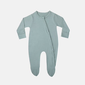 Aquifer Teal Button Up Bamboo Footie