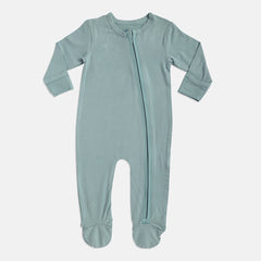 Aquifer Teal Bamboo Zipper Footie