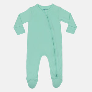 Ice Green Bamboo Zipper Footie