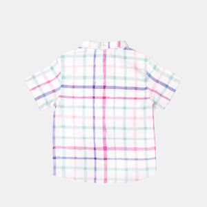 Checkered Watercolour Print Brushed Twill Shirt