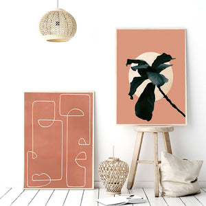 Abstract canvas art prints orange sunset edition sunset plant 2