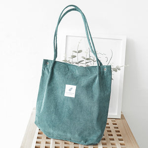 Recycled corduroy tote bag green