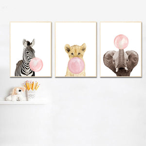 Pink bubble baby lion wall art print