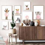 Load image into Gallery viewer, Pink bubble baby tiger wall art print