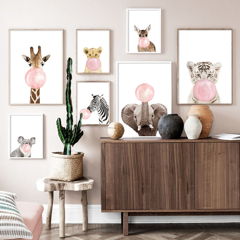 Pink bubble cat wall art print