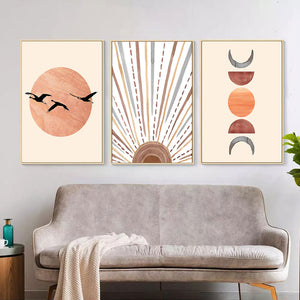 Abstract canvas art prints orange sunset edition sun, half moon and new moon