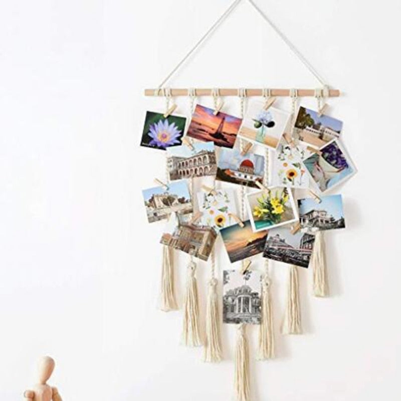 Hanging woven photo rope