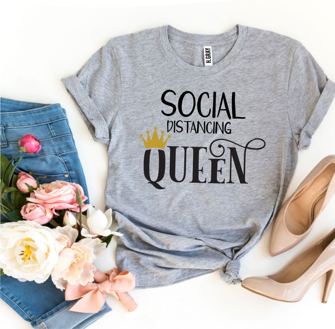 Social Distancing Queen T-shirt