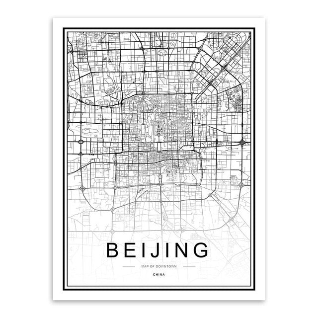Typography world city map wall art print, black & white - 'Beijing'