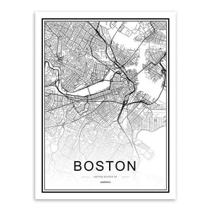 Typography world city map wall art print, black & white - 'Boston'