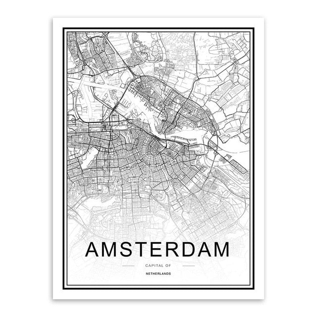 Typography world city map wall art print, black & white - 'Amsterdam'