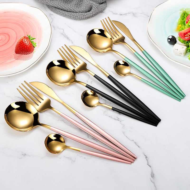 Gold inlay cutlery set 4 pieces