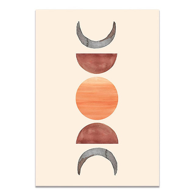 Abstract wall art print sunset edition pink warm sun moon shapes