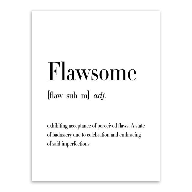 Typography wall art print, black & white - 'Flawsome'