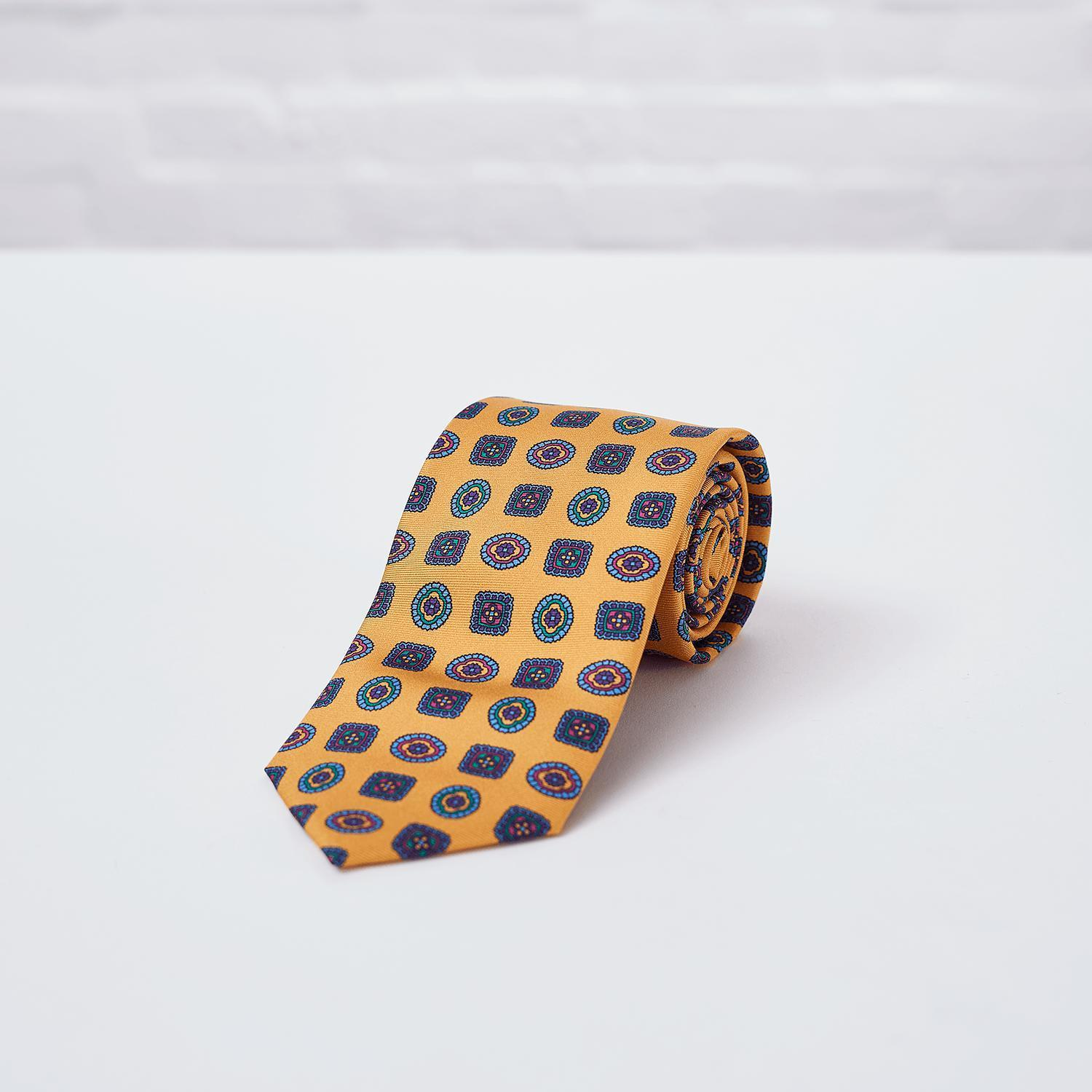 Amber Geometric Printed Silk Tie - British Made